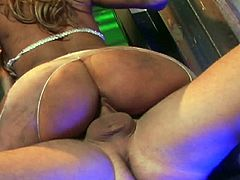 Slutty doll gets slamed by two cocks in full hardcore interracial porn session