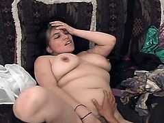 Cute slim girl is playing lesbian games with her fat GF. The chicks pet each other and then the slim girl fingers the fattie's cunt and drills it with a dildo.