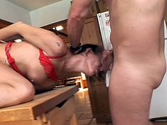 Nancy Vee poses for the camera in red lingerie and white stockings. She gets her ass and pussy toyed hard. Later on she gets fucked like never before.