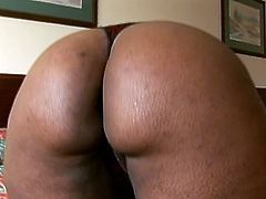 Witness this video where an ebony BBW, with gigantic boobs wearing high heels, goes really hardcore with a skinny dude over a nice bed.