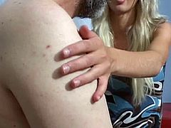 Oldje brings you an exciting free porn video where you can see how a kinky blonde belle gets banged hard into heaven by an old man while assuming very interesting poses.