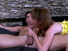 She loves to suck big stiff cock and her man is always ready for it. She is choking with that huge cock and and gets big load of cum of her face.