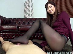 Foot fetish and pantyhose action going on from Far East slut in this video. She is up for anything and is just looking to have fun