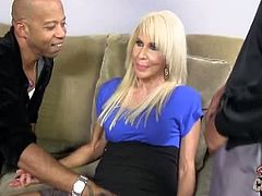 Blacks On Cougars brings you a hell of a free porn video where you can see how the vicious blonde slut Erica Lauren gets pounded by two black studs into heaven.