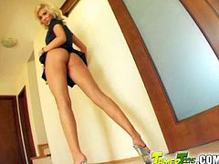 Beautiful blonde girl with long legs and nice ass poses for the camera. Later on she lies down on a sofa and gets double penetrated. She also gets her mouth filled with big load of cum.