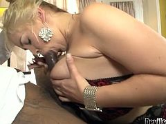 Full bodied mommy is wearing sexy lingerie set, black nylon stockings and high heel shoes. She seduces handsome black stud for sex. Lustful mom wraps BBC with her mouth lips and starts sucking deepthroat.