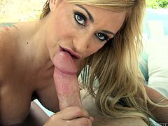 Claudia Valentine gives the perfect blowjob ever to some lucky man