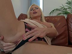Vanessa Hell is a beautiful long legged milf that cant keep her fingers ff her shaved twat. She plays with her snatch with her black panties on and then takes pink dildo. Shes sex hungry!