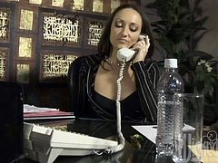 She is doing it right in her office and it's gonna be so fucking amazing how she pleases herself, talking on the phone! Something in line is seducing her!