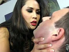 Sexy Jessica Bangkok is involved into a nasty cuckold session with a white and black dude. She enjoys hardcore banging from the black dude and swaps the cum with the whitey.
