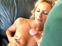 This mature chick loves to do some nasty things in the presence of spectators. She gives a blowjob and gets her shaved pussy drilled in front of two guys.