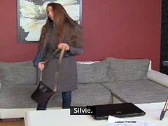 Silvie has an amazing body that could have quite easily tempted every man or woman. She takes her clothes off and the female agent starts to lick her tight pussy.