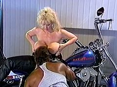 Tasty looking fuck dieing blond head hootchie with tremendous Mamillas got powerfully doggy style hammered by old black biker.Watch this hot fuck in The Classic Porn sex clip!