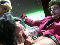Watch these slutty ladies having a threesome with a guy dressed as the joker. Watch them drink his sum after fucking them silly.