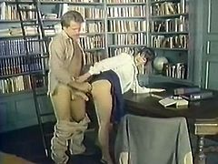 This dude knows what he wants from this sexy librarian. He grabs this hottie by her head and pulls her towards his rock hard erection. Shapely cutie sucks it passionately like a dirty whore. Then he fucks her muff from behind. A few positions later he bangs her in missionary position.