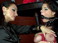 Impressive babes are using some nasty toys to play rough during lesbian femdom