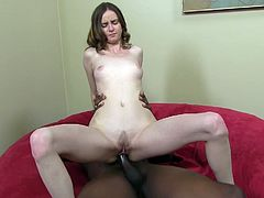 Watch the horny babe Jay Taylor cums all over this guy's big black cock as she rides this brother after sucking on it.