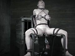 Darling is a submissive blonde. She gets a back-breaking bondage before her master ties her up to a chair and starts the fucking machine while it's inside her pussy.