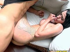 Having sex with such a steaming hot Brazilian babe is so divine! She is a sex doll and she wants him to feel so relaxed, sucking and riding his cock!