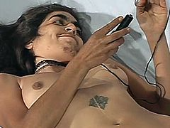 An ugly slut takes her clothes off and demonstrates her hairy armpits and bushy snatch. Then she fingers her coochie and rubs it with some small toy.