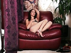 Brunette exotic Kiera Winters with small tities and clean muff dildoing her beaver