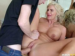 Curvy step-mom Phoenix Marie takes cock in every hole