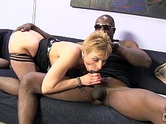 Short-haired cougar takes big black cock in her ass and pussy