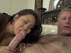 Chubby Asian mommy teaches inexperienced girl how to suck cock properly. So they practice on a hard dong of nasty old daddy. What a lucky guy he is!