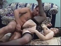 Slutty woman seduces a guy. She takes clothes off and gets her boobs licked. Later on she gets fucked in a doggystyle and a sideways positions.