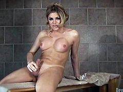 Transsexual babe takes lingerie off to show big boobs and a dick. This naughty tranny masturbates and uses a dildo.