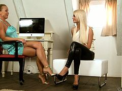 Fantastic blonde lesbian Lena Love wants to be a porn star. She comes for a casting and gets interviewed by Silvia Saint.