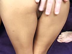 Stunning Dahlia takes clothes off to show her nice ass and big tits. Later on she lies down on a sofa and gets fucked in a sideways position. She also gets titty fucked in the end.