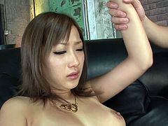 Seductive Jap porn actress Aika is wearing sexy lingerie set and fishnet stockings. She exposes her pussy in closeup shot. She pleases her coochie with small sex toy.
