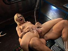 Horny blonde chick lifts a skirt up and gets her pink pussy licked in a bar. She gives a handjob and gets fingered as well. After that Sindee gets fucked in a reverse cowgirl pose.