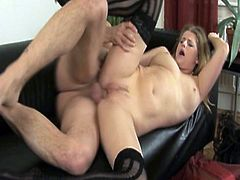 This horny milf is ready to experience some really hardcore banging with a big stiff cock. After getting her pussy stretched she wants it also deep into her asshole.