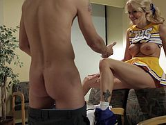 Have fun with this hardcore scene where the horny Jessica Drake is fucked by a big cock while dressed as a very sexy cheerleader.