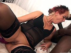 Jana loves wild sex despite her age. She toys her ass and sucks big black cock. Later on she gets banged in her vagina and ass in interracial sex video. Jana also gets her ass filled with cum.