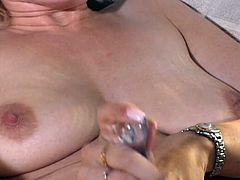 Slut with natural boobs uses a dildo to get orgasm