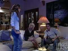 Having the hot glasses-wearing brunette as a house guest turns this married couple on and they fuck like mad in bed. The dark-haired girl goes solo.