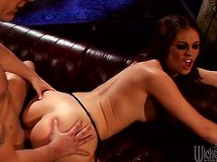 Have fun watching this brunette babe, with natural breasts wearing black stockings, while she serves a nice handjob and gets plowed hard over a couch.