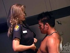Dirty cop Julia Ann brigs dude to the station and fucks him hard. That lucky dude banged this smoking hot cougar and cum on her face.