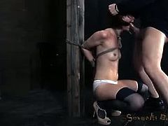 Hazel Hypnotic and Beretta James get face-fucked while tortured. The first babe also has her ass hole fingered. The second Asian slut takes her master's cock in her cunt too.