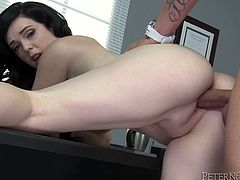 Lustful Mary Jane Mayhem takes her clothes off at work place and has sex. She gives skillful blowjob to some dude and then gets banged on a table.