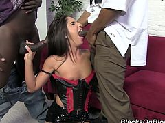 This guys are horny and hard and they just wait a chance to bang chick like her. This nympho got amazing satisfaction by these black dudes.