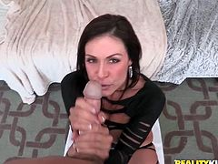 Curvaceous MILF stands on all fours and shakes her perfect ass. Then some dude comes up to her and starts to lick the pussy. Later on she gives him a blowjob and gets fucked rough.