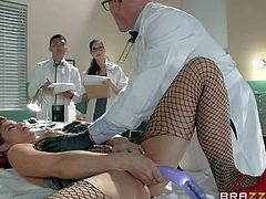 Milfy redhead Ryder Skye with juicy ass is doctor Johnny Sins helper in sexual studies. He explores female sexuality to create the best sex toys in the industry. He toy fucks her wet pussy in front of curious students.