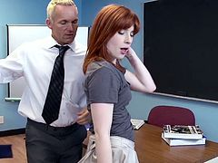 Slutty redhead amazes her teacher with a great fuck in exchange for an exam