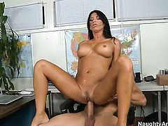 Lezley Zen with juicy breasts is the one hard dicked dude Johnny Castle loves to fuck