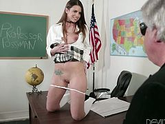 Seductive Brooklyn Chase poses in school uniform. She lies down on a table and shows off her sexy body. Then she gets her yummy pussy licked and fucked.