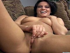 Cute dark-haired chick Holly strips and shows her nice body to some guy. Then she rubs her clit ardently and they have sex in cowgirl position.